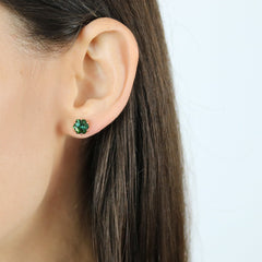 18kt Rose Gold Green Tourmaline Studs, petite - Paolo Costagli