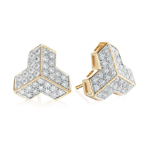 Yellow Gold and Diamond Brillantissimo Stud Earrings, Petite - Paolo Costagli