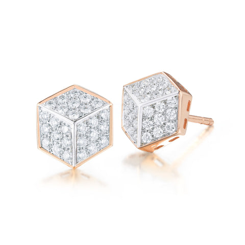 18kt Rose Gold and Diamond Pave Brillante® Stud Earrings - Paolo Costagli
