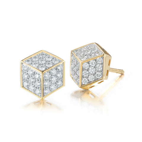 18kt Yellow Gold and Diamond Pave Brillante® Stud Earrings - Paolo Costagli