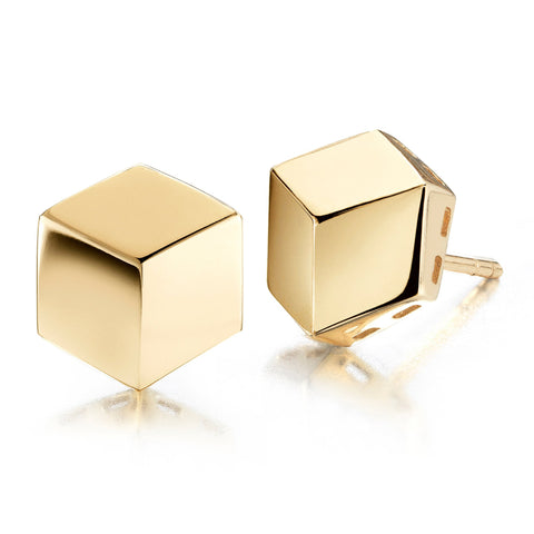 Yellow Gold Brillante® Stud Earrings, Grande - Paolo Costagli