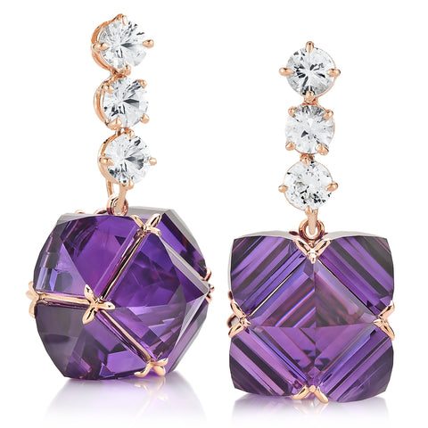 Rose Gold White Sapphire and Amethyst Very PC® Earrings, Grande - Paolo Costagli