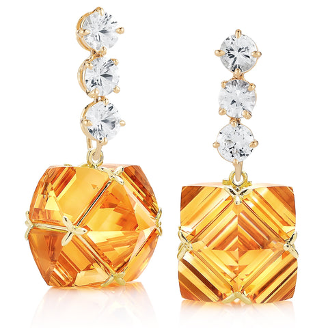 White Sapphire and Citrine Very PC® Earrings, Grande - Paolo Costagli