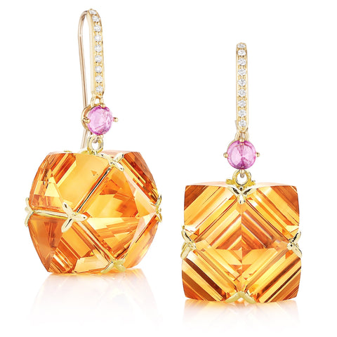 Citrine and Pink Sapphire Hook Top Very PC® Earrings, Grande - Paolo Costagli