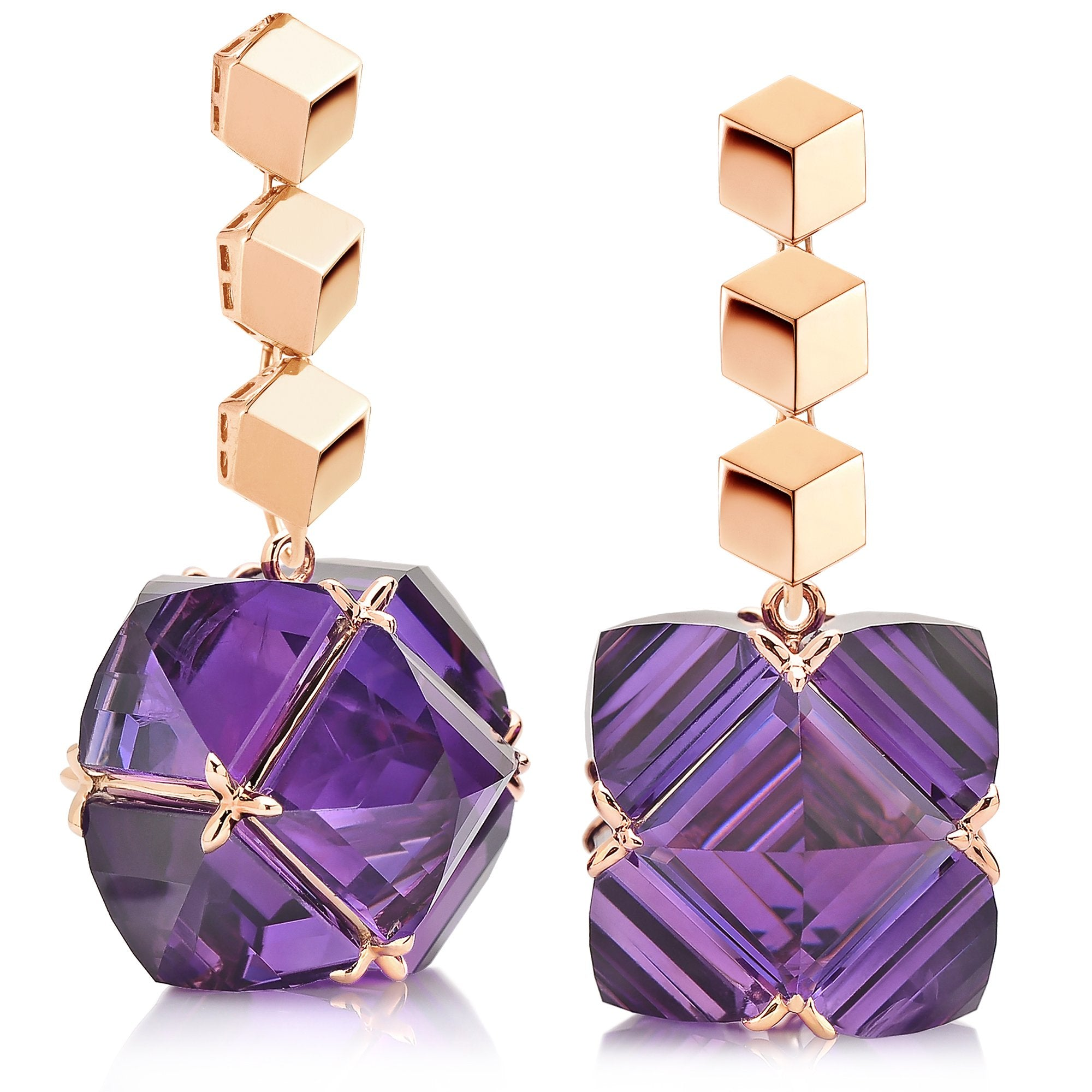 Rose Gold 'Brillante®' and Amethyst 'Very PC'® Earrings, Grande - Paolo Costagli - 1