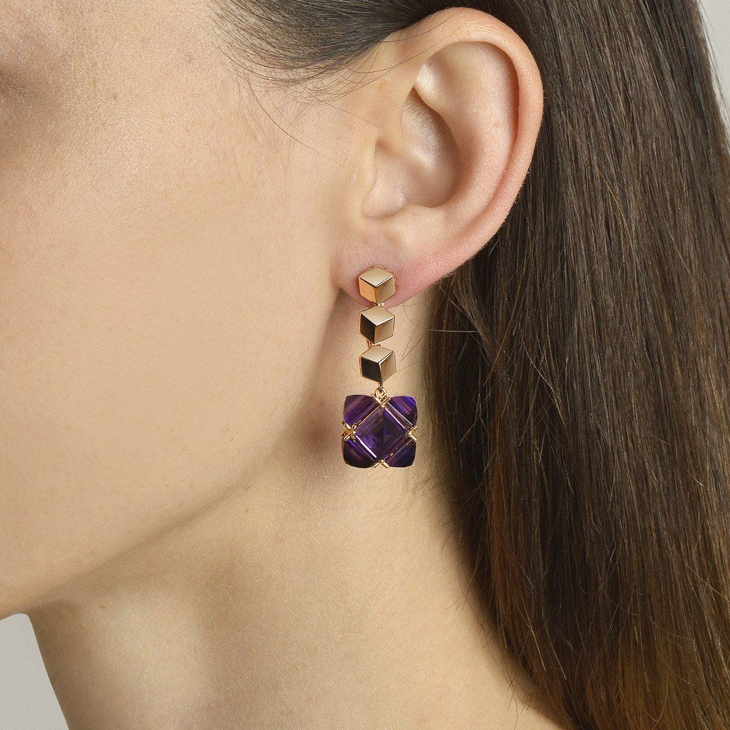 Rose Gold 'Brillante®' and Amethyst 'Very PC'® Earrings, Grande - Paolo Costagli - 2