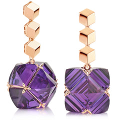 Rose Gold Brillante® and Amethyst Very PC® Earrings, Grande - Paolo Costagli
