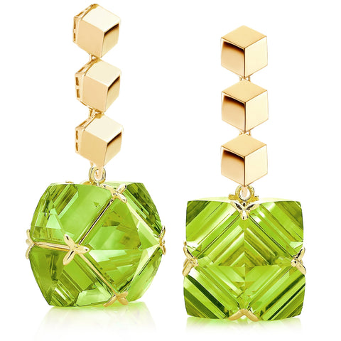 Yellow Gold Brillante® and Peridot Very PC® Earrings, Grande - Paolo Costagli