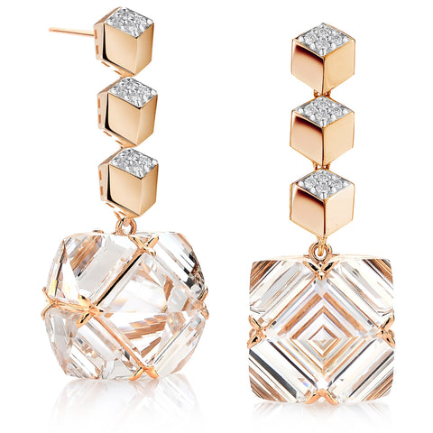 Rose Gold Diamond Brillante® and White Topaz Very PC® Earrings, Grande - Paolo Costagli