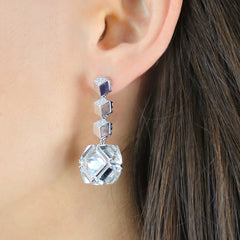 White Gold Diamond Brillante® and White Topaz Very PC® Earrings, Grande - Paolo Costagli