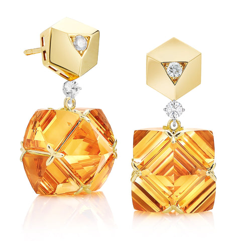 18kt Yellow Gold Very PC® Citrine Earrings with Diamonds, Grande - Paolo Costagli