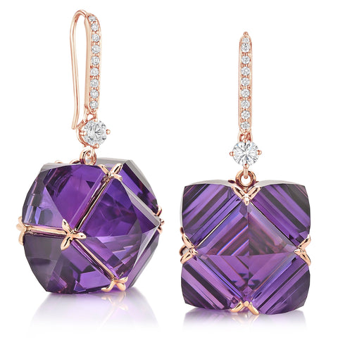 White Sapphire and Amethyst Very PC® Earrings with Diamonds, Grande - Paolo Costagli