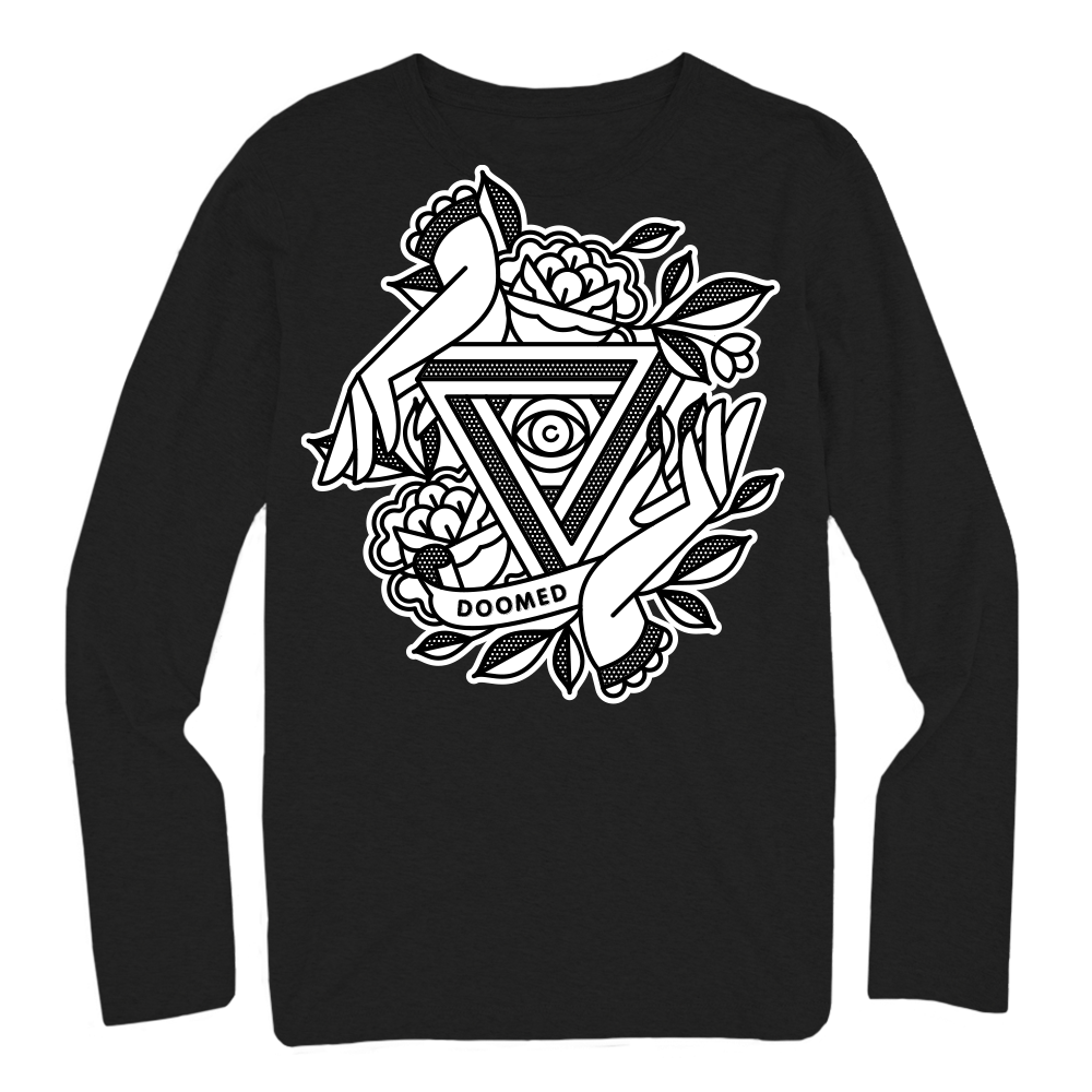 Product image. Back of black long sleeve t-shirt. Large white graphic of hands and roses around an impossible triangle.