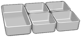 Set of 5 (1 large, 4 small) white storage/ice trays for small carrier