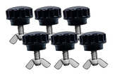 Set of 6 black threaded fasteners and metal wing nuts