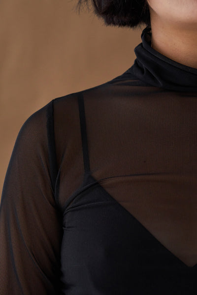 Stella Scrunch Turtleneck—Black
