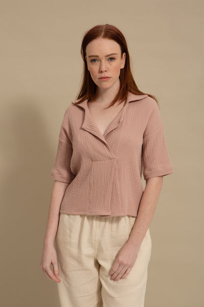 Dusty Rose Overlap Cropped Top