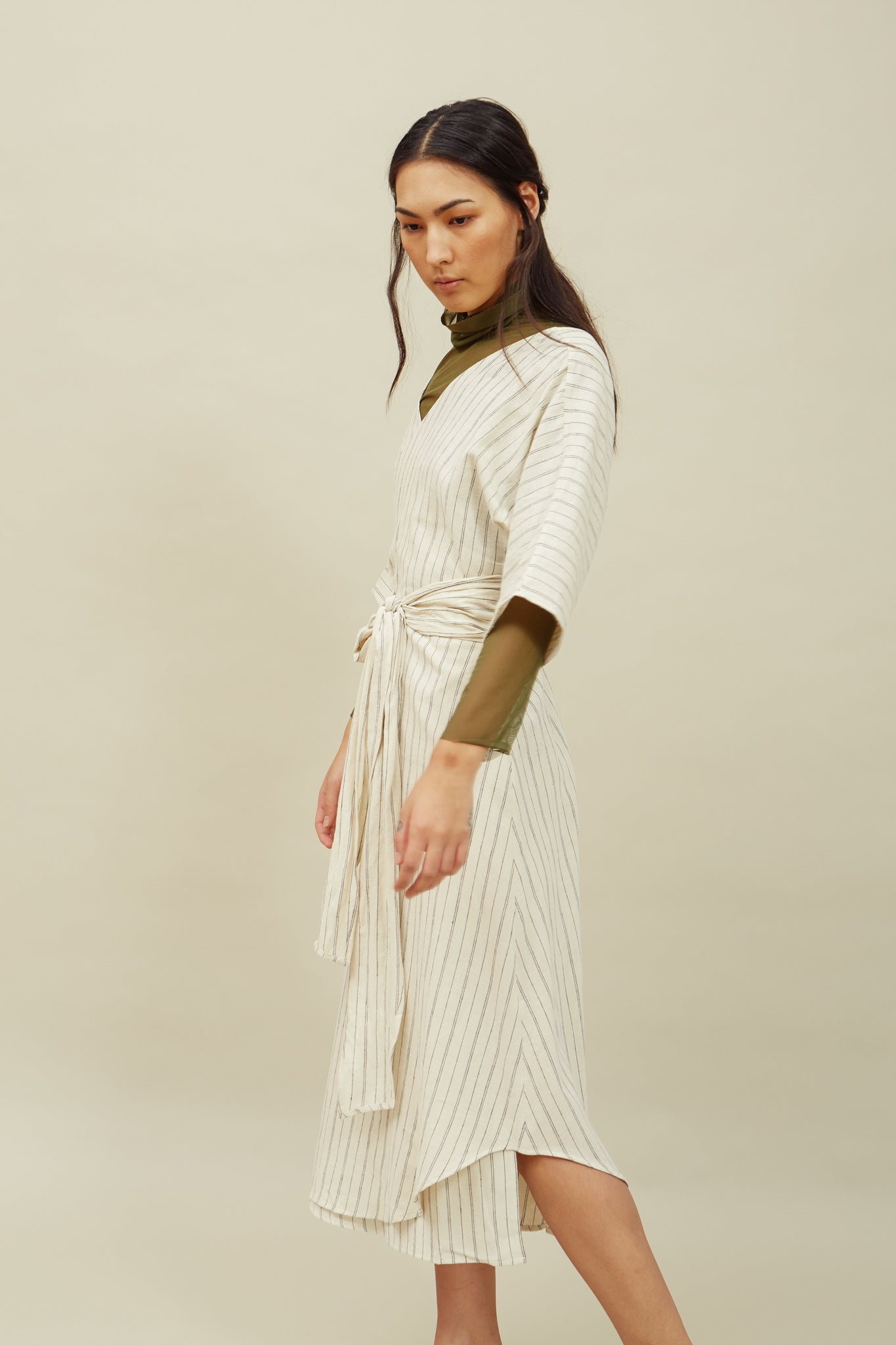 Reversible Wrap Dress—Cream + Black Stripe