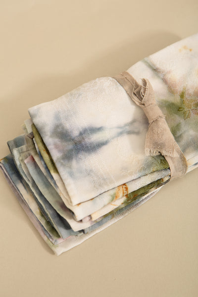 One of a Kind—Set of 4 Multicolored Antique Luncheon Napkins