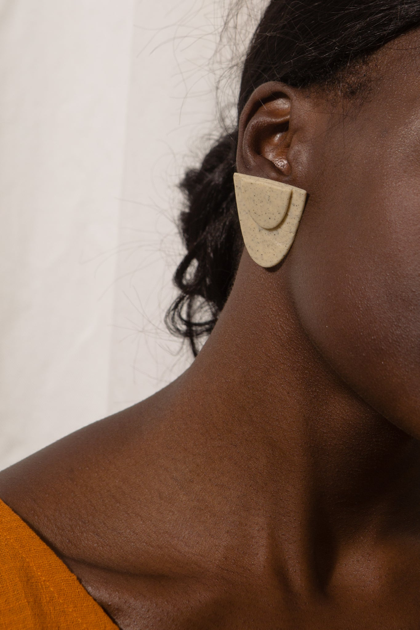 Speckled Arc Clay Earrings