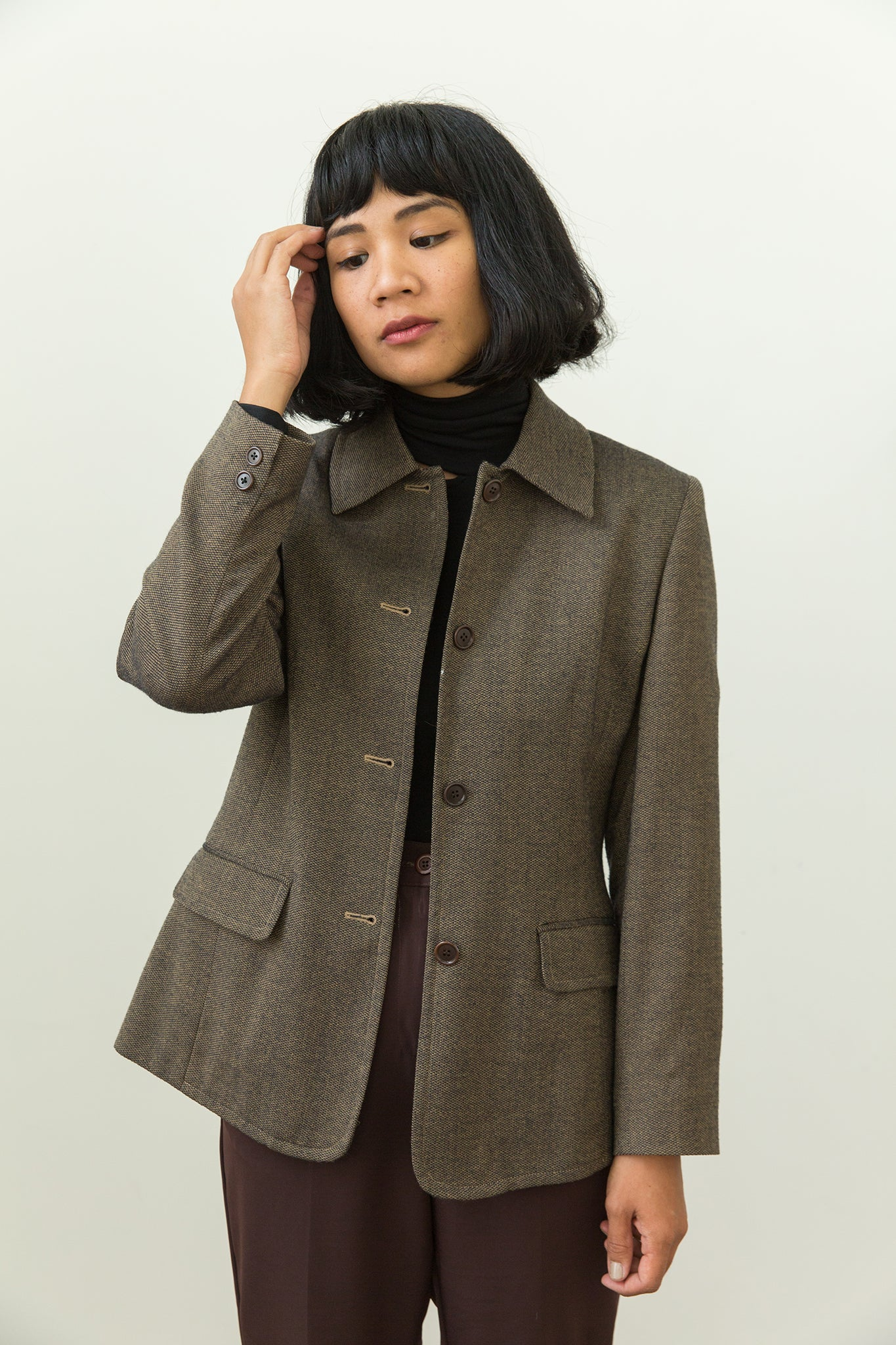 Vintage | Olive Green Tweed Blazer