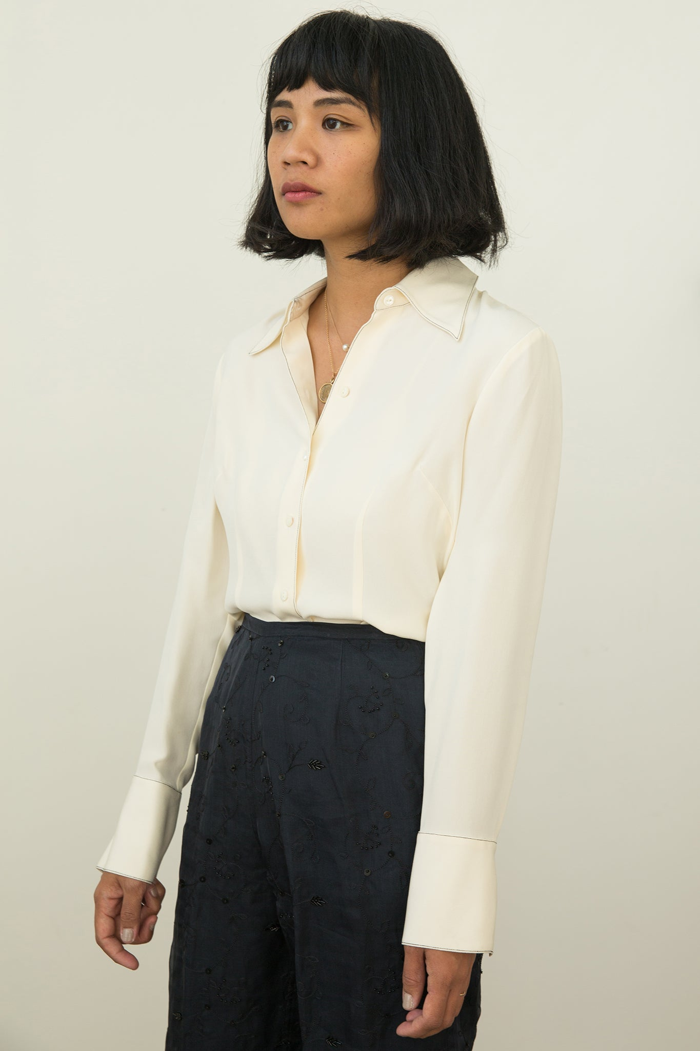 Vintage | Silk Stitched Blouse