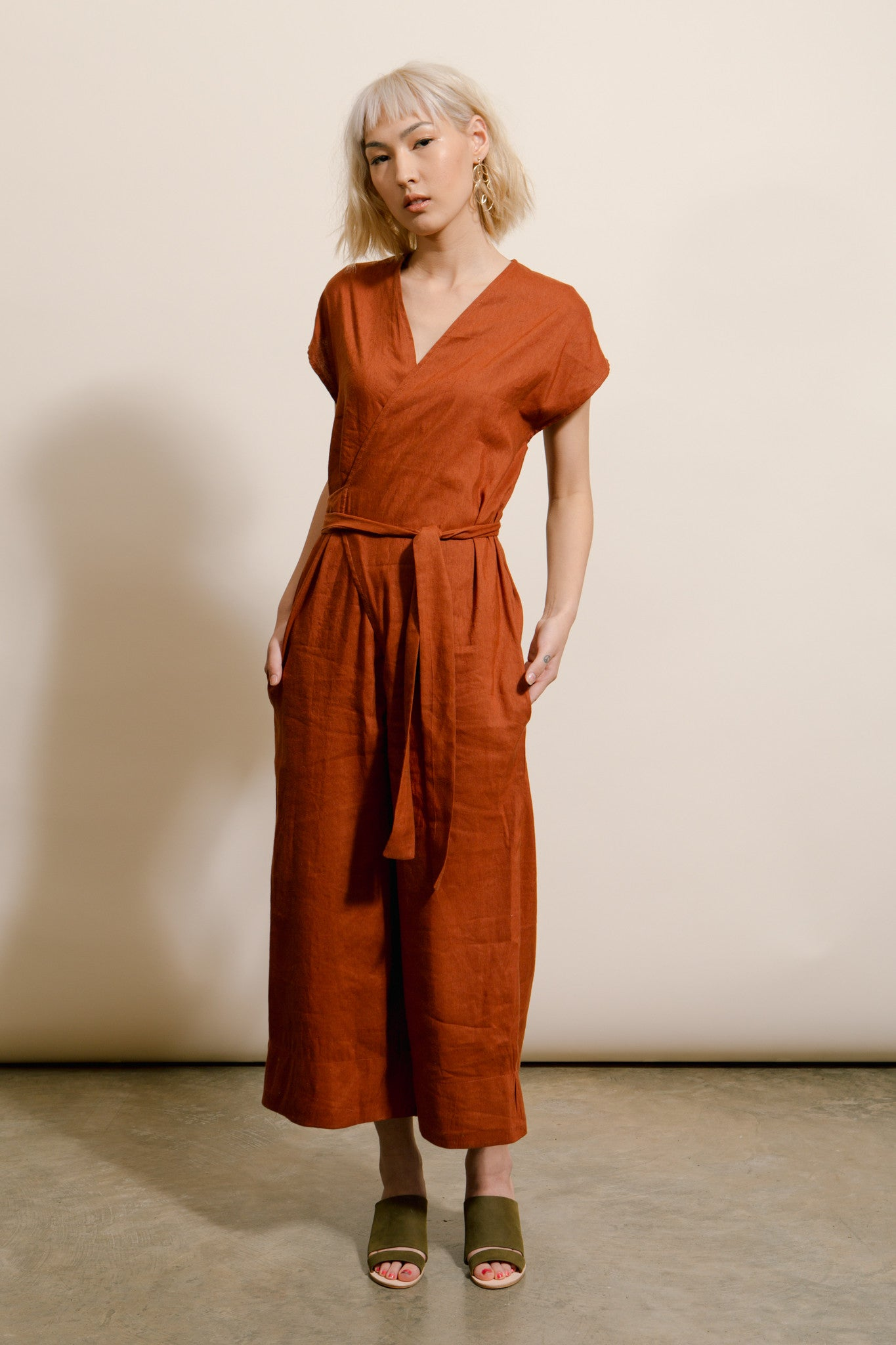 Rust Wrap Jumpsuit
