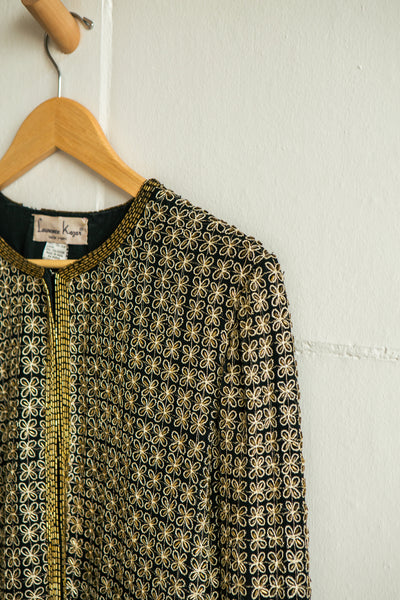 Vintage Goodwin | Beaded Black + Gold Silk Jacket