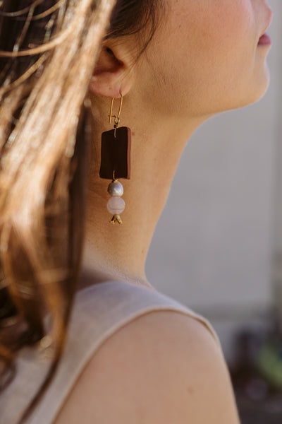 Clay Pearl Rose Quartz Earrings