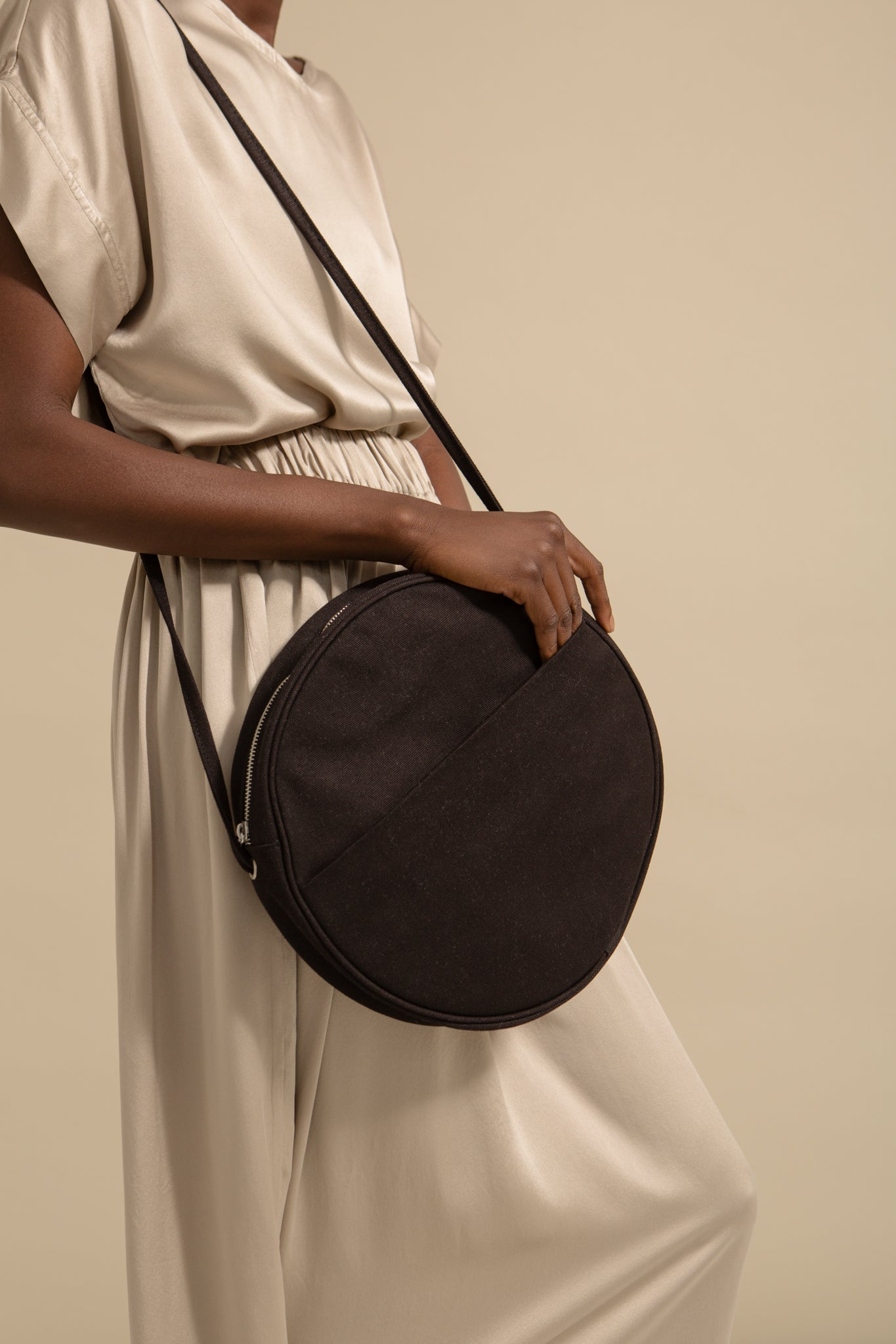 Large Canvas Circle Purse