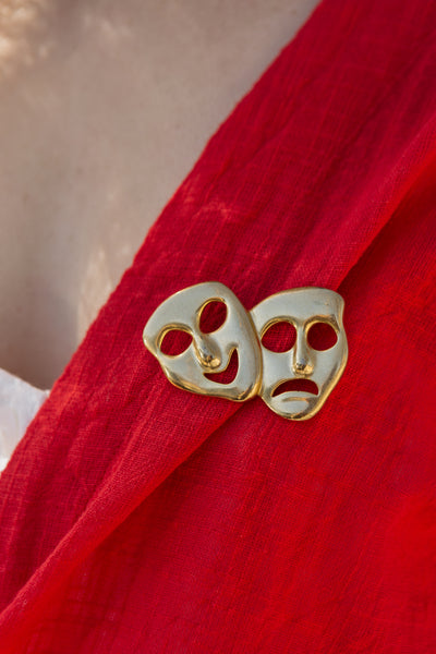 Vintage | Gold Mask Brooch