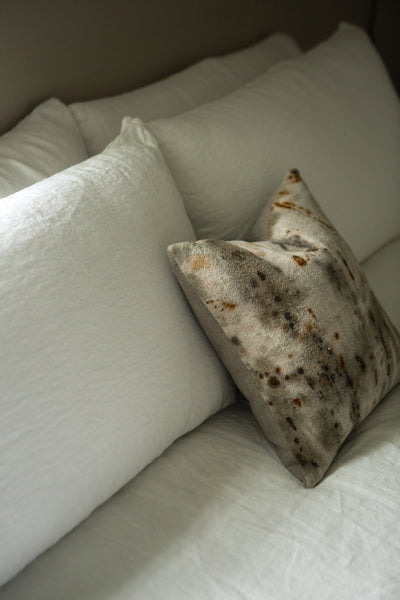"One of a Kind—16"" Rust + Tannin Dyed Antique Linen Pillow"