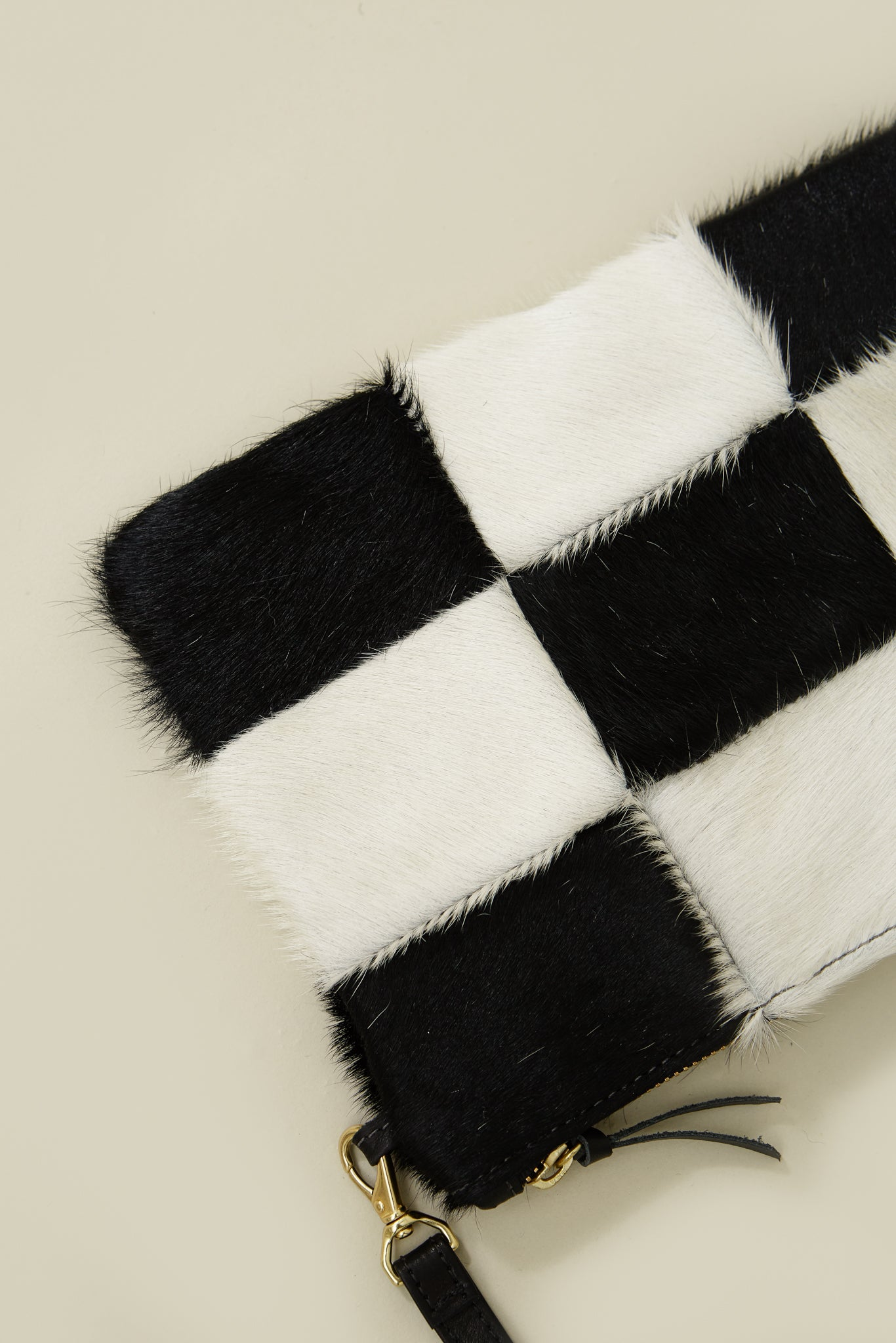 Checkered Cowhide Patch Purse
