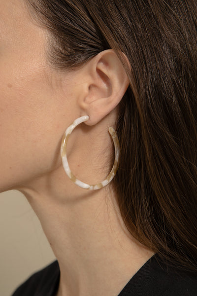Taupe Shell Large Hoops