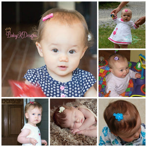 Infant hair clips. Baby Snap clips. Baby K Designs Snap CLips. Newborn Hiar Bows.