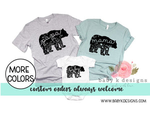 Floral Bear Family Shirts