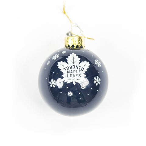 Maple Leafs Glass Ball Ornament