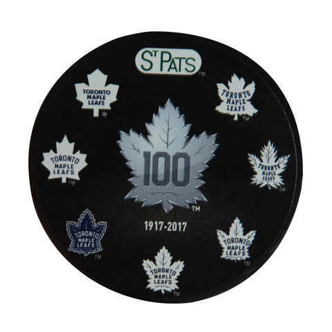 Maple Leafs History of Logos Souvenir Puck