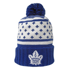 Toronto Maple Leafs Mitchell & Ness Men's Highlands Cuffed Pom Toque - shop.realsports