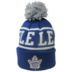Toronto Maple Leafs Reebok Youth Fan Block Scripted Cuffed Pom Toque - shop.realsports