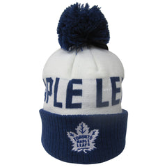 Toronto Maple Leafs Reebok Kids Scripted Cuffed Pom Toque - shop.realsports