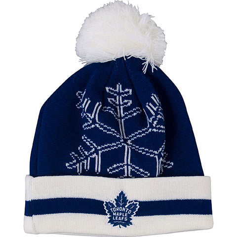 Toronto Maple Leafs Old Time Hockey Ladies Andra Snowflake Cuffed Pom Toque