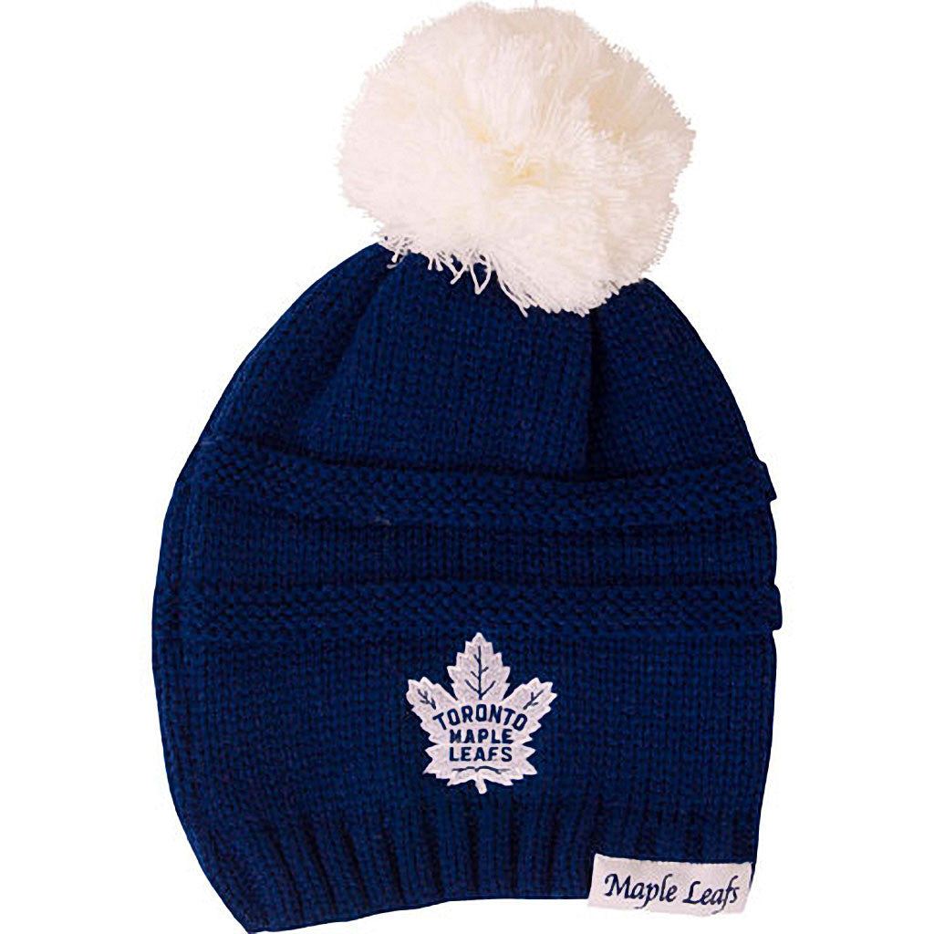 Toronto Maple Leafs Old Time Hockey Ladies Deliah Cuffless Pom Toque - shop.realsports