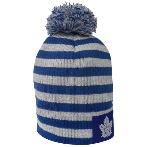 Toronto Maple Leafs Old Time Hockey Youth Peyton Striped Cuffed Pom Toque