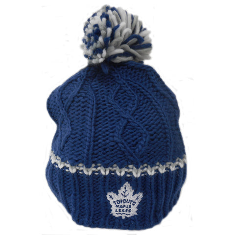 Toronto Maple Leafs Youth Girls Cable Knit Rib Cuffless Pom Toque