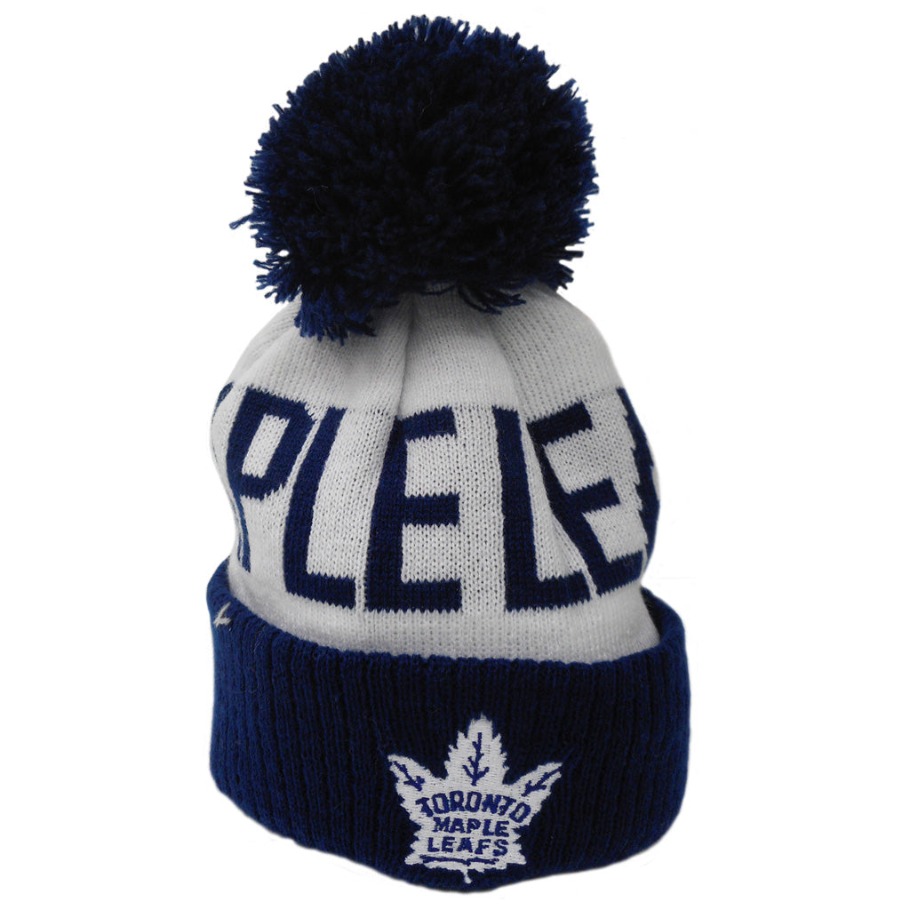 Toronto Maple Leafs Toddler Block Wordmark Cuffed Pom Toque
