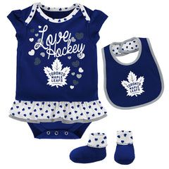 Toronto Maple Leafs Newborn Love Hockey Bib and Bootie Set