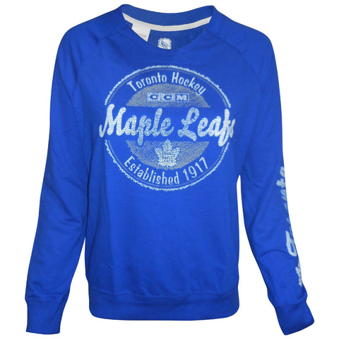 Toronto Maple Leafs CCM Ladies New Scribbled Script French Terry Crew
