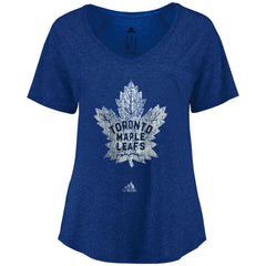 Toronto Maple Leafs Adidas Ladies Her Distress Logo Triblend Vneck