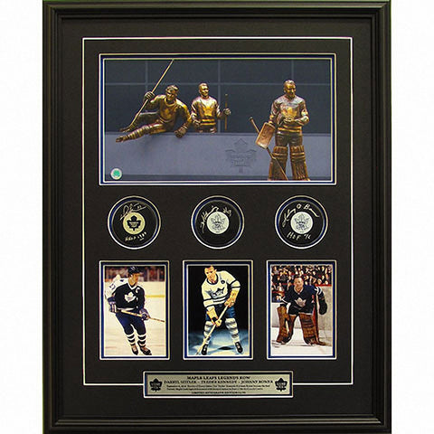 Toronto Maple Leafs Legends Row with Autographed Pucks in a Deluxe Shadow Box Frame